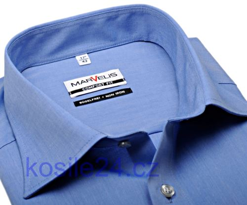 Marvelis Comfort Fit Chambray – strednemodrá košeľa - krátky rukáv