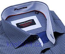 Casa Moda Comfort Fit Premium – luxusná modrá košeľa s bielym vzorom s vnútorným golierom, manžetou a légou