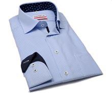 Marvelis Comfort Fit – košile se světle modrým proužkem a modrým vnitřním límcem a manžetou