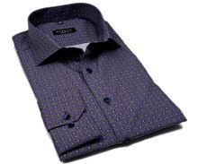 Eterna Comfort Fit – designová modro hnědá košile s tištěným vzorem