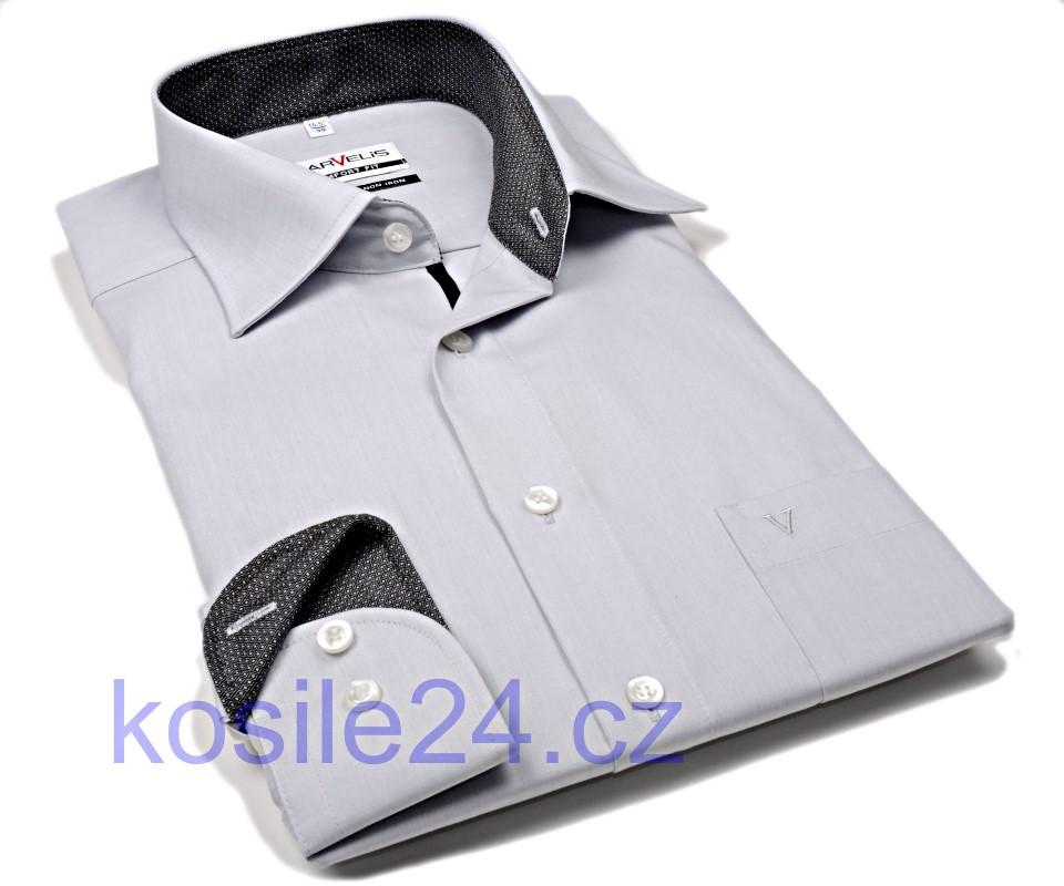 Marvelis Comfort Fit – šedá košile s antracitovým vnitřním límcem 9627ca7830