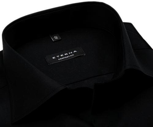 Eterna Comfort Fit Twill Cover - luxusní černá neprůhledná košile - prodloužený rukáv