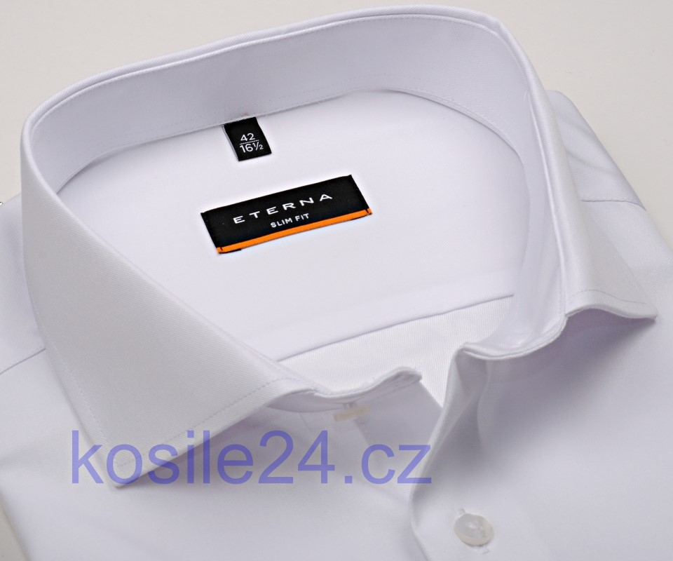 Eterna Slim Fit Twill Cover - luxusní bílá neprůhledná košile 1e9a0203df