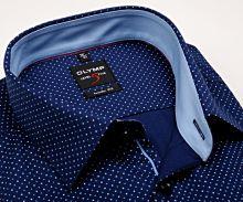 Olymp Level Five – tmavomodrá košile s jemnou strukturou, puntíky a vnitřním límcem - prodloužený rukáv