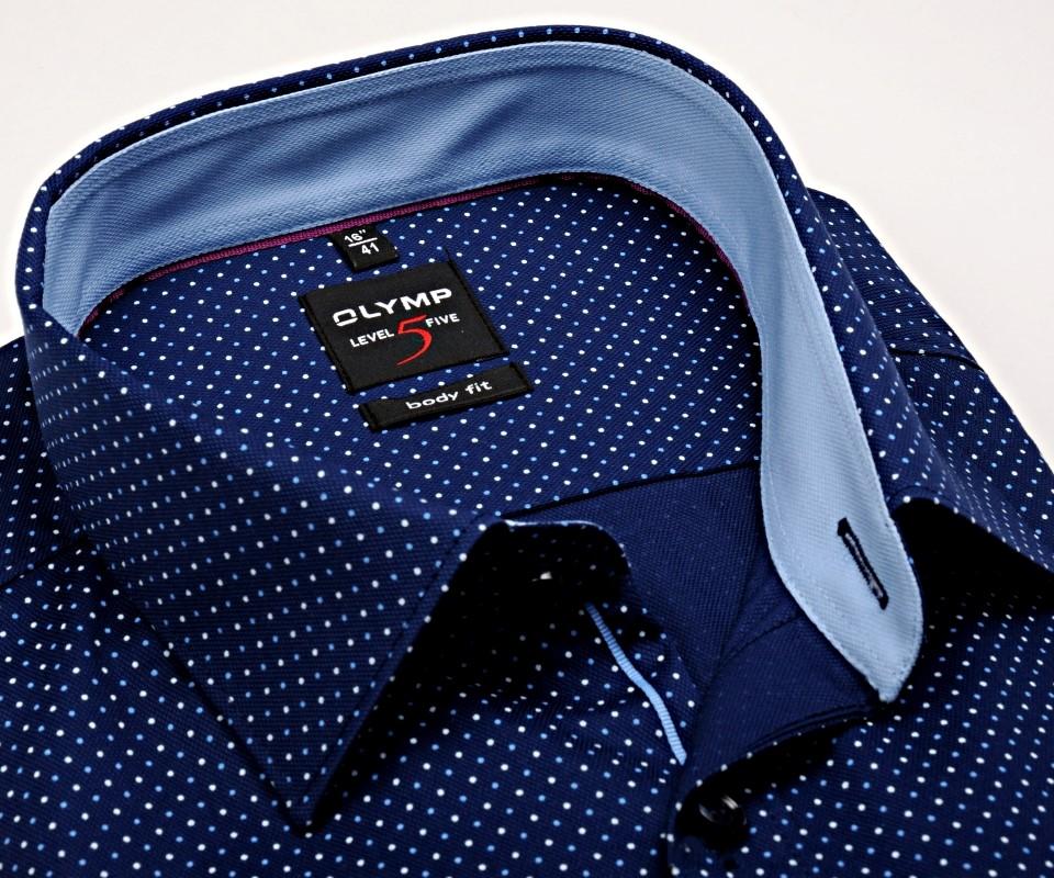 d09d76766409 Luxusná body fit košeľa Olymp s modrými bodkami - krátky rukáv