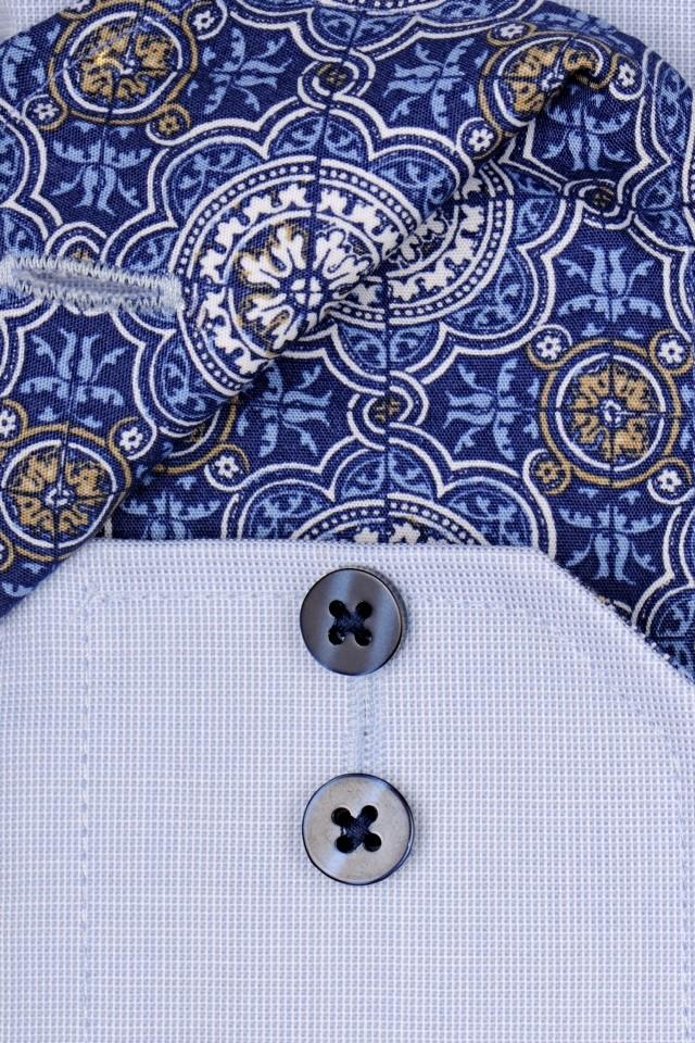 b239042fa4ea Eterna Slim Fit – svetlomodrá košeľa s jemnou štruktúrou a vnútorným  golierom