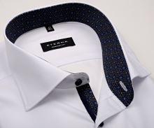Eterna Comfort Fit – biela košeľa s modro-hnedým vnútorným golierom - predĺžený rukáv