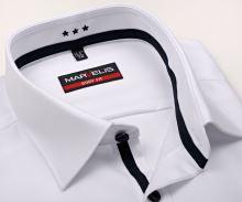 Marvelis Body Fit Twill – luxusní bílá košile s tmavomodrým vnitřním límcem a légou