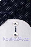 Eterna Slim Fit Fine Oxford – bílá košile s tmavě modrým vnitřním límcem, manžetou a légou
