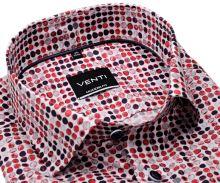 Venti Modern Fit – košeľa s tľačenými červeno-modrými kolečkami - extra predĺžený rukáv