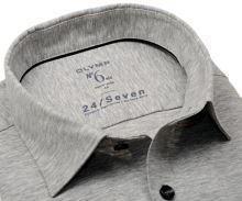Olymp Super Slim 24/Seven – sivá elastická košeľa so svetlým rastrovaním
