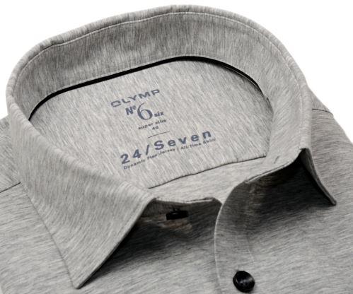 Olymp Super Slim 24/Seven – šedá elastická košile se světlým rastrováním