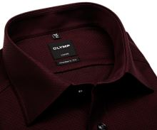 Olymp Modern Fit – červeno-černá košile s vetkaným vzorem