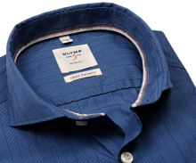 Olymp Level Five Smart Business – modrá košeľa s votkaným károm - predĺžený rukáv