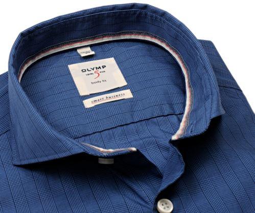 Olymp Level Five Smart Business – modrá košile s vetkaným kárem - prodloužený rukáv