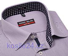 Marvelis Body Fit – košeľa s fialovým prúžkom a vnútorným golierom a légou - predĺžený rukáv
