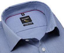 Olymp Super Slim – tmavě modrá košile se vzorem kohoutí stopy