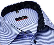 Eterna Modern Fit Twill – košeľa s modrým prúžkom s vnútorným golierom - predĺžený rukáv
