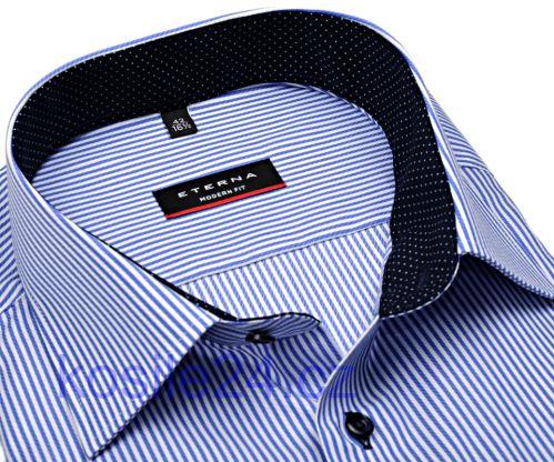 Eterna Modern Fit Twill – košeľa s modrým prúžkom s vnútorným golierom a manžetou