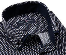 Casa Moda Modern Fit Premium– tmavomodrá košeľa s ornamentami a dvojitým golierom