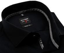 Olymp Level Five – čierna košeľa s vnútorným golierom a légou