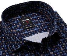 Olymp Level Five – dizajnová tmavomodrá košeľa s modro-hnedým vzorom - predĺžený rukáv