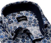 Venti Modern Fit – košeľa s modro-hnedým vzorom a dvojitým golierom - extra predĺžený rukáv