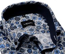 Venti Modern Fit – košile s modro-hnědým vzorem a dvojitým límcem - extra prodloužený rukáv