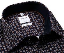 Olymp Comfort Fit – tmavomodrá košile s hnědo-bílými kolečky