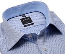 Olymp Modern Fit – modrá košile s vetkaným vzorem a světle modrým vnitřním límcem - prodloužený rukáv