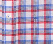 Eterna Comfort Fit – červeno-modrá károvaná košile s příměsí lnu - krátký rukáv