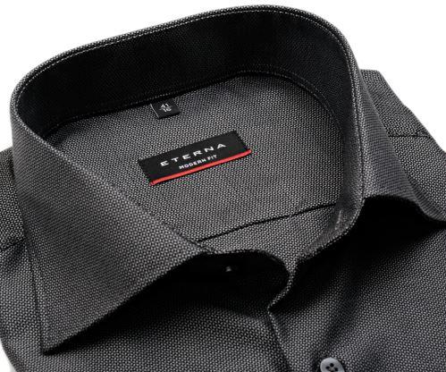 Eterna Modern Fit - košeľa s drobným čierno-sivým vzorom - predĺžený rukáv