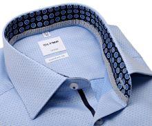 Olymp Comfort Fit – luxusná svetlomodrá košeľa s votkaným vzorom a vnútorným golierom - predĺžený rukáv