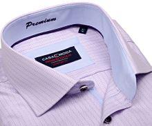 Casa Moda Comfort Fit Premium – luxusná košeľa s ružovým prúžkom a vnútorným golierom - extra predĺžený rukáv