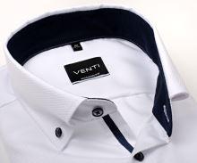 Venti Modern Fit – biela košeľa so štruktúrou a tmavomodrým vnútorným golierom, manžetou a légou