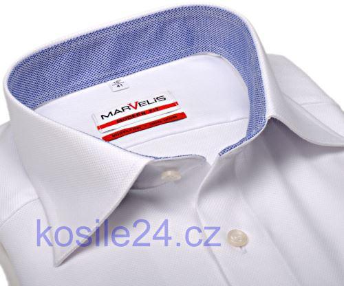 Marvelis Modern Fit – luxusná biela košeľa so štruktúrou a vnútorným golierom a manžetou