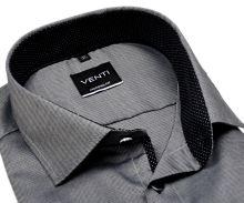 Venti Modern Fit – ocelovo sivá košeľa so štruktúrou a čiernym vnútorným golierom