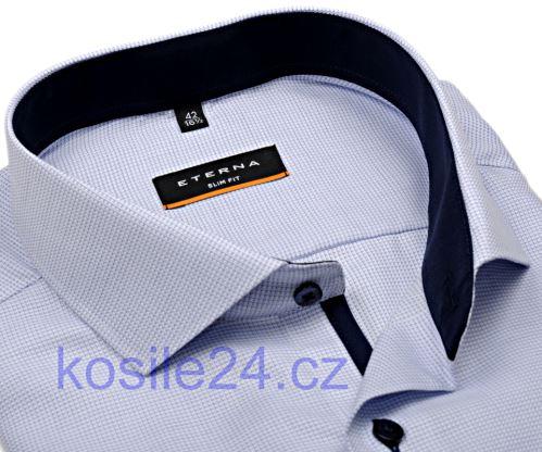 Eterna Slim Fit – košeľa s modrým votkaným vzorom a vnútorným golierom, manžetou a légou
