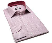 Marvelis Modern Fit – košeľa s červenými votkanými mini odĺžníkmi a  vnútorným golierom 3983b71c6a