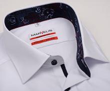 Marvelis Modern Fit – biela košeľa s modrým vnútorným golierom a manžetou - predĺžený rukáv