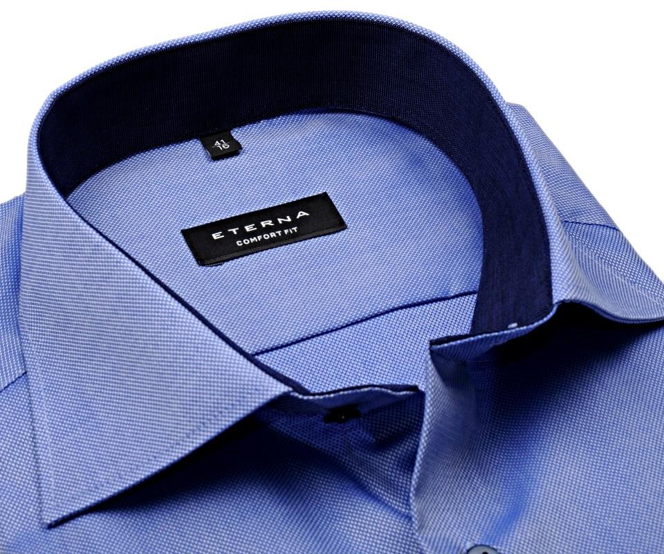 Eterna Comfort Fit Natté - modrá košile s bílým rastrováním a vnitřním  límcem - prodloužený rukáv 9025c13913