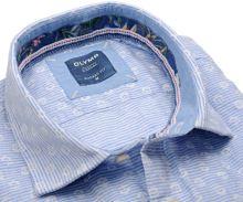 Olymp Casual Modern Fit  – ľanová košeľa so svetlomodrým vodorovným prúžkom - krátky rukáv