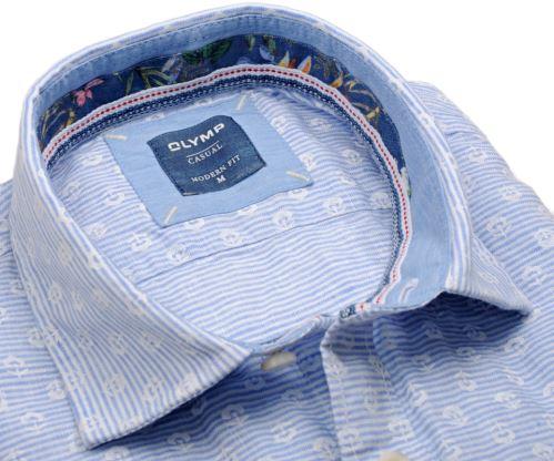 Olymp Casual Modern Fit  – lněná košile se světle modrým vodorovným proužkem - krátký rukáv