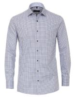 Casa Moda Comfort Fit Premium – košile s modro-hnědým kostkovaným vzorem a vnitřním límcem