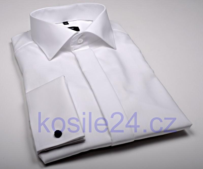 Eterna Comfort Fit Uni Popeline - biela gala s dvojitou manžetou a skrytou  légou 5ac3e667fa