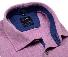 Olymp Casual Modern Fit  – ľanová fialovo-ružová košeľa s vnútorným golierom a légou - krátky rukáv