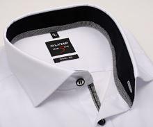 Olymp Level Five – biela košeľa s čiernym vnútorným golierom a manžetou - predĺžený rukáv