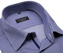 Eterna Comfort Fit Twill – košile s tmavě modrým kárem a vnitřní légou - prodloužený rukáv
