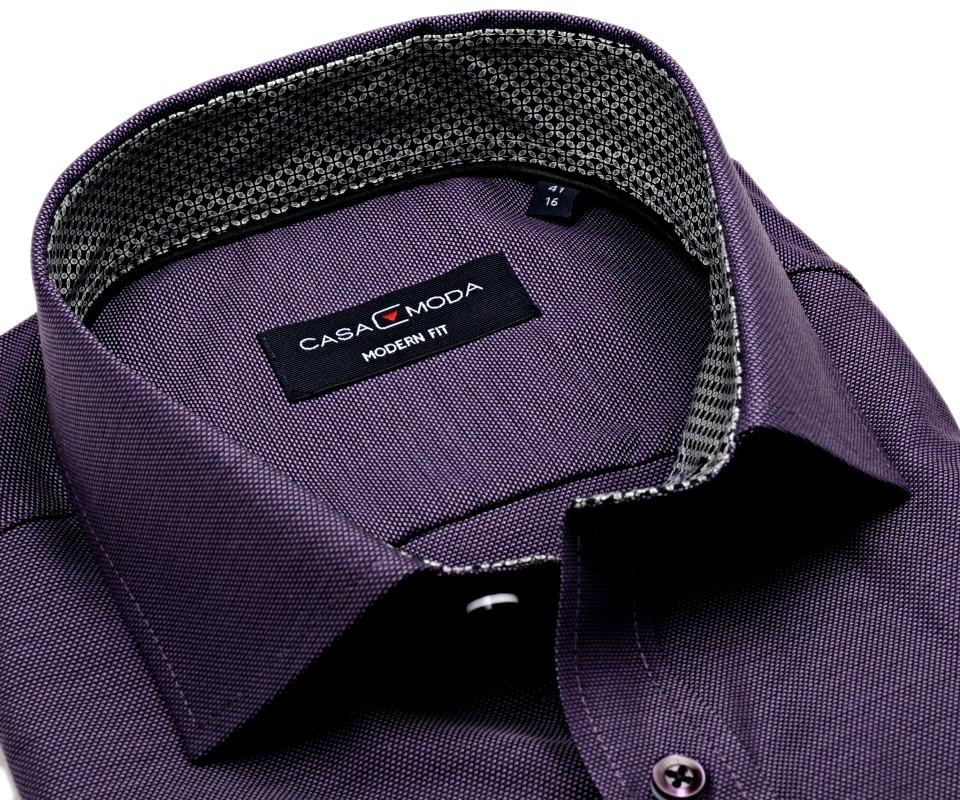 2b69832bf85b Casa Moda Modern Fit Premium – fialová košeľa so štruktúrou a vnútorným  golierom - extra predĺžený rukáv