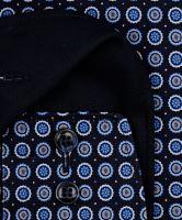 Olymp Modern Fit – tmavomodrá košeľa s modro-bielymi kolečkami - predĺžený rukáv